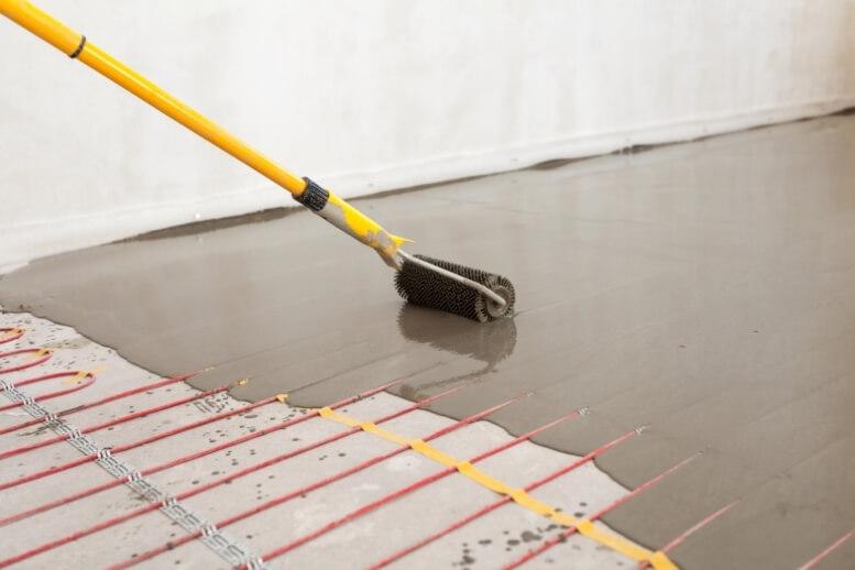 Voorbeeld natbouw systeem elektrische vloerverwarming